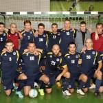 FK «Ogre/Cerber 2» futbolisti pēc pirmās uzvaras jaunajā sezonā.