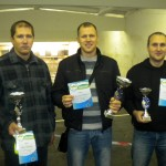 Šaušanas sacensību «Rudens 2013» uzvarētāji: Atis Ratnieks (no kreisās), Nauris Reinsons un Arnis Birze.